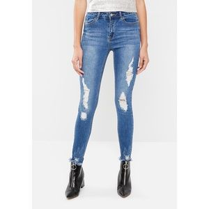 Missguided Anarchy Distressed ripped skinny jeans